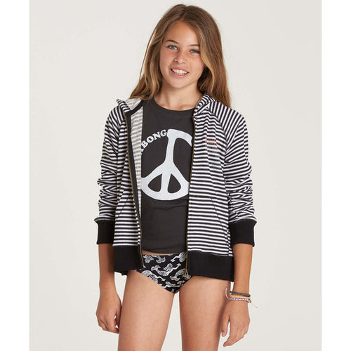 Billabong Girls From The Sea Zip Up Hoodie In Black