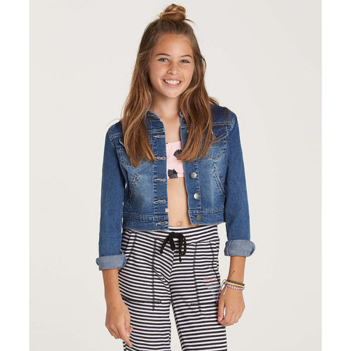Billabong Girls Roses R Red Denim Jacket In Salt Water Rinse