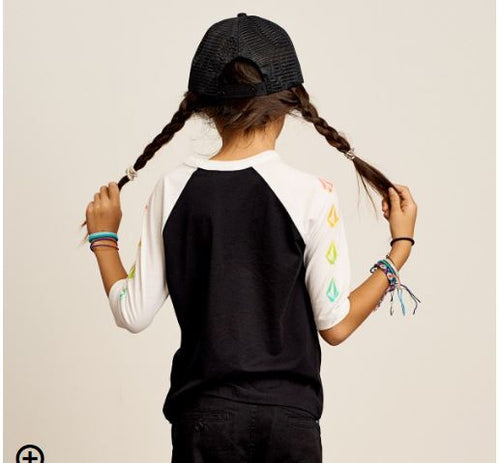 Volcom Girls Rainbow Loving Raglan Shirt In Black/White