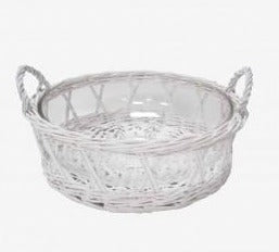 White Wicker Glass Salad Bowl