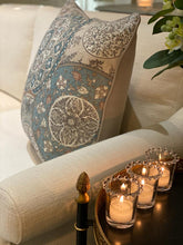 Load image into Gallery viewer, Floral Paisley & Geometric Cushion - Soft Blue