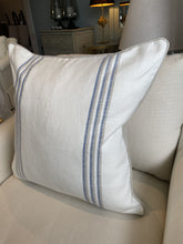 Load image into Gallery viewer, Linen Stripe Cushion - White & Blue