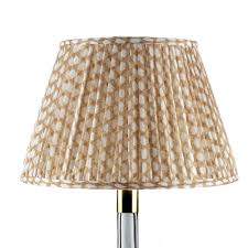 Pleated Tapered Lampshade - Nut Brown Wicker (35cm)