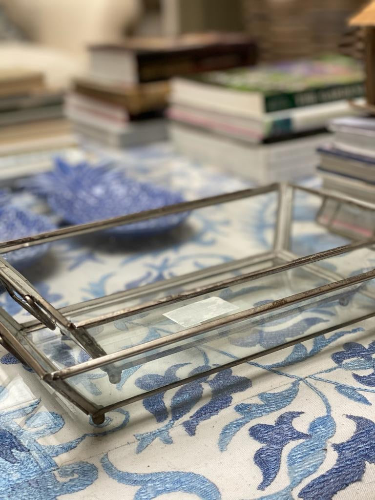 Set of 2 Glass & Silver Trays