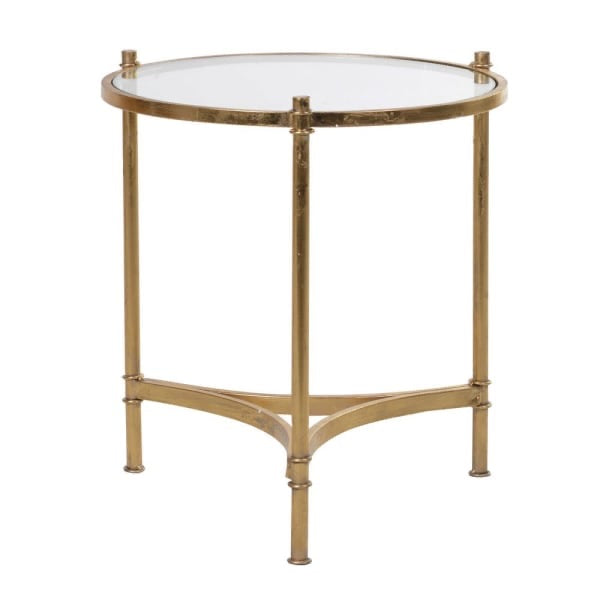 Round Gold Side Table With Glass Top