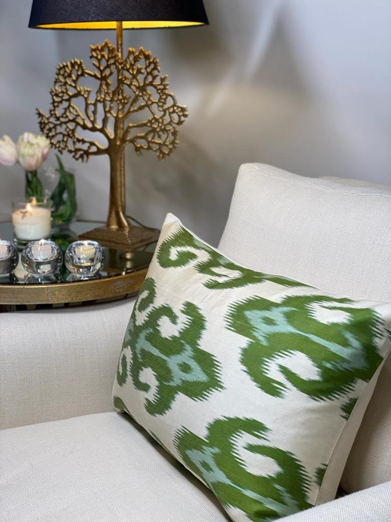 Selena Ikat Cushion - Green
