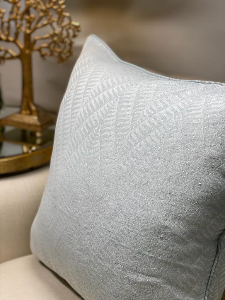 Self Patterned Chevron Cushion - Old Blue