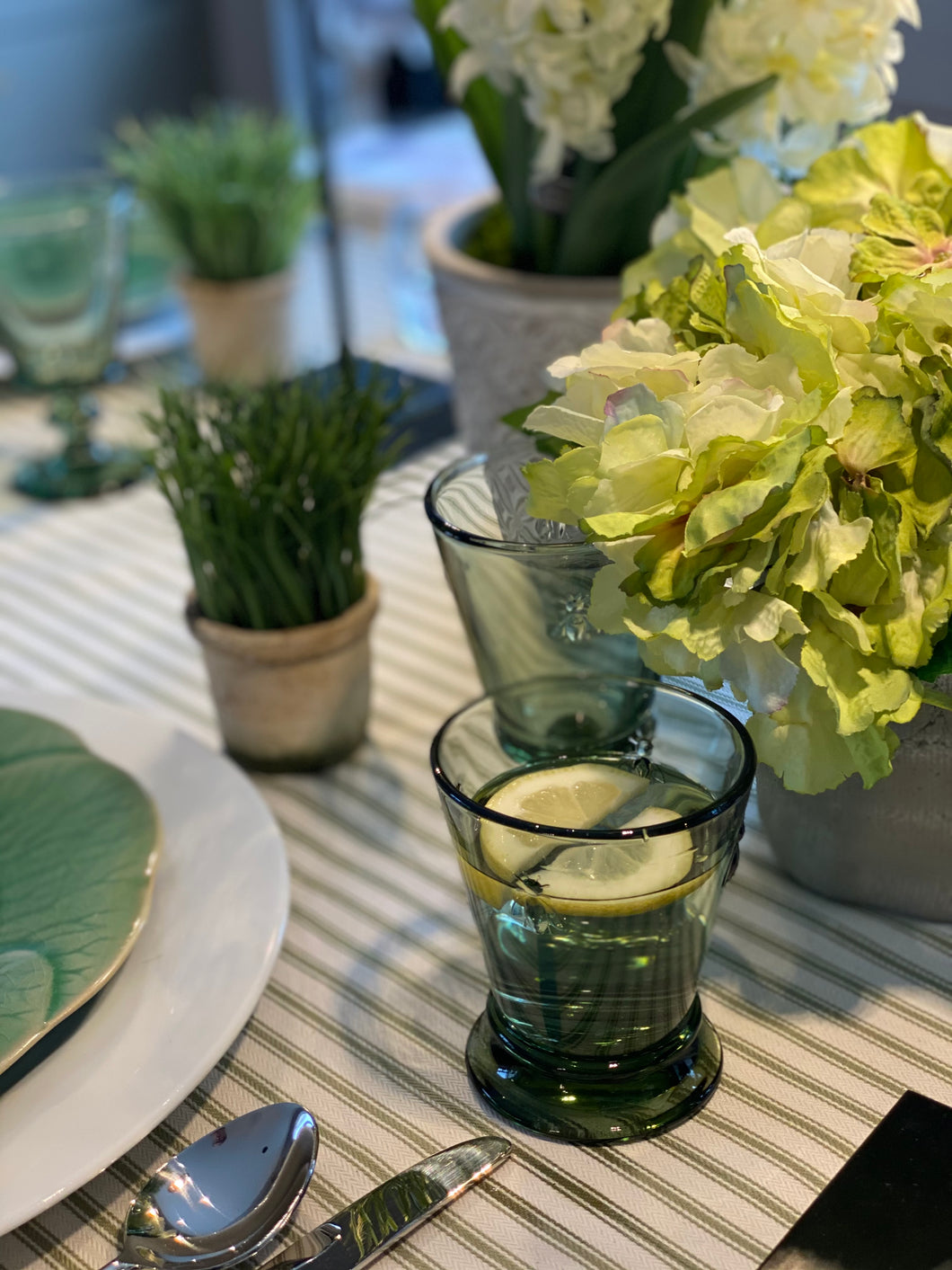 Olive Green Bee Water Glass