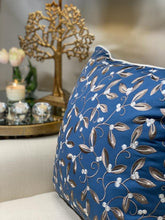 Load image into Gallery viewer, Carissa Embroidered Cushion - Blue / brown