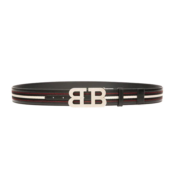 Bally Men's B-Mirror Fabric & Leather Fixed & Reversible Belt