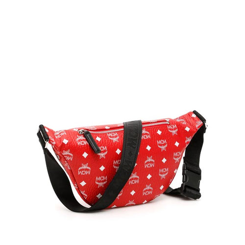 MCM Fursten Belt Bag with White Logo in Red Visetos