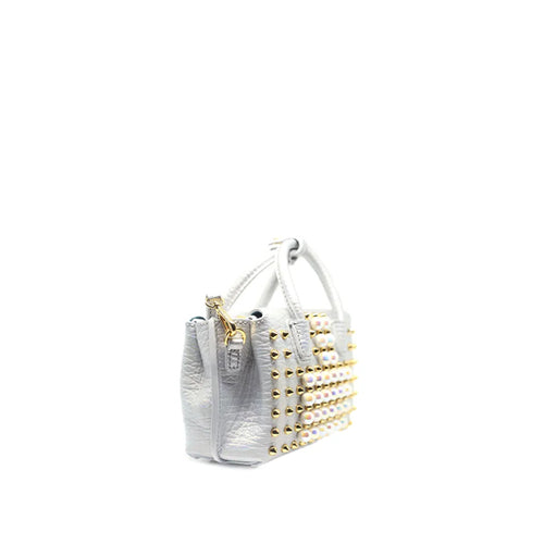 MCM Milla Pearl Studs Tote X Mini in White