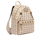 Dual Stark Studded Backpack in Beige Visetos