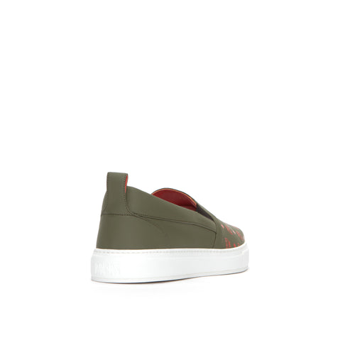 MCM Visetos Slip-On Men's Leather Sneakers Moss Green