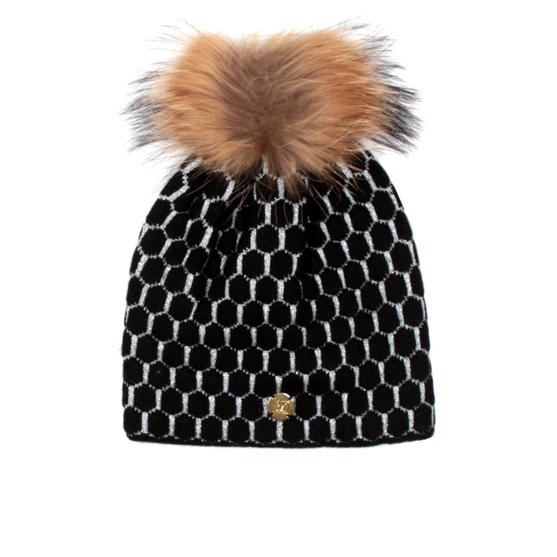 MDB Couture Women's Honeycomb Beanie Black