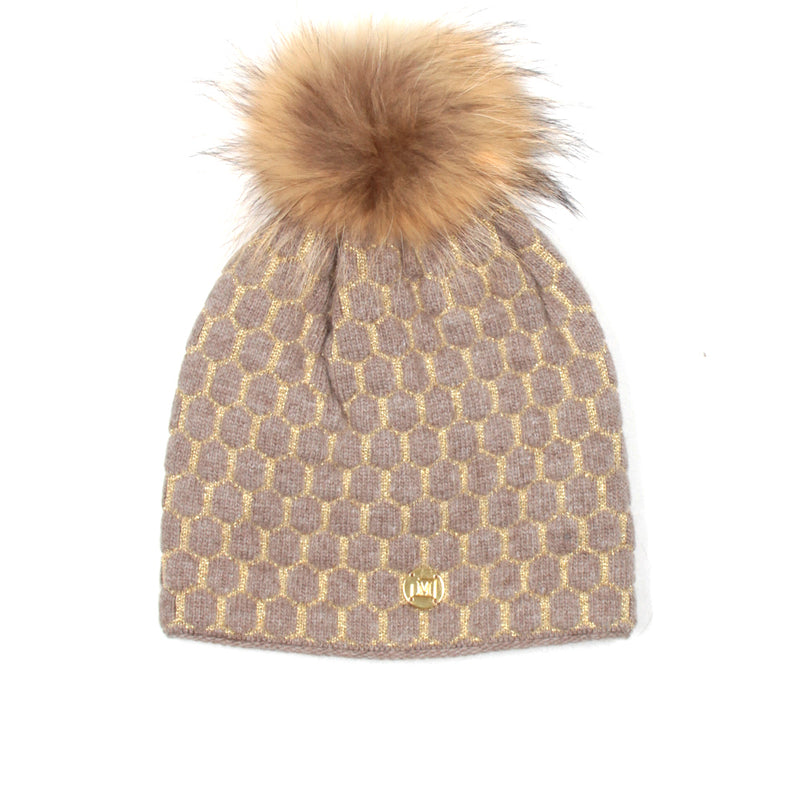 MDB Couture Women's Honeycomb Beanie Brown