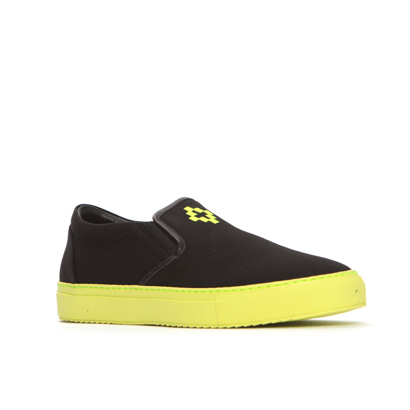 Marcelo Burlon Cross Men's Slip-On Sneaker Black/Neon Yellow