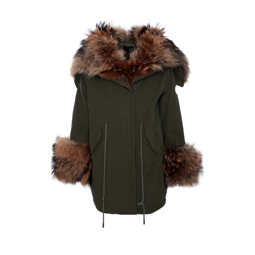 MDB Couture Fur Lined Women's Parka Olive