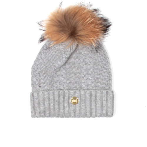 MDB Couture Women's Cable Knit Beanie Grey