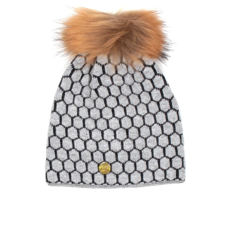 MDB Couture Women's Honeycomb Beanie Grey