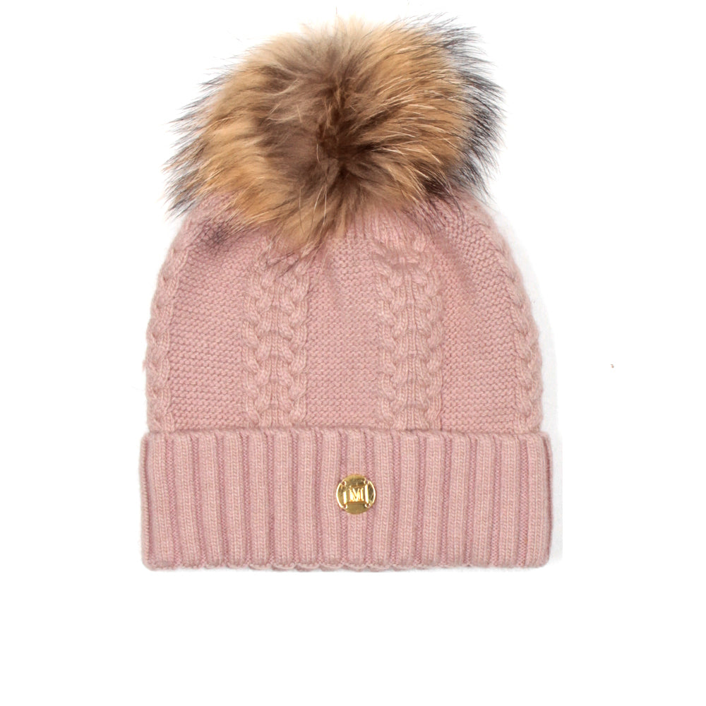 MDB Couture Women's Cable Knit Beanie Pink