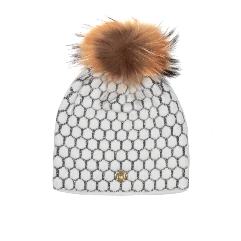 MDB Couture Women's Honeycomb Beanie White
