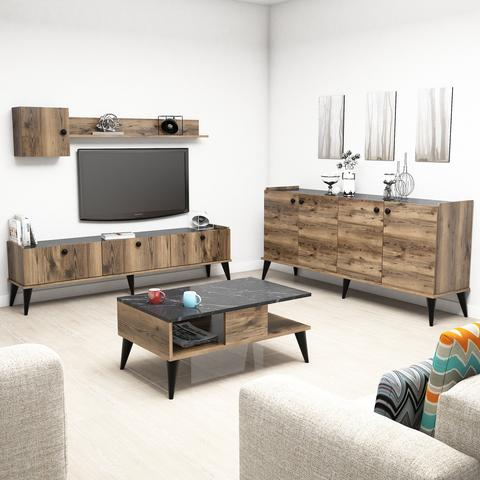 Triple TV Table set -  LİDYA Model - keblyhome