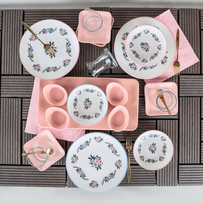 Breakfast Dishes Set 21 Pieces - Petunia model - keblyhome