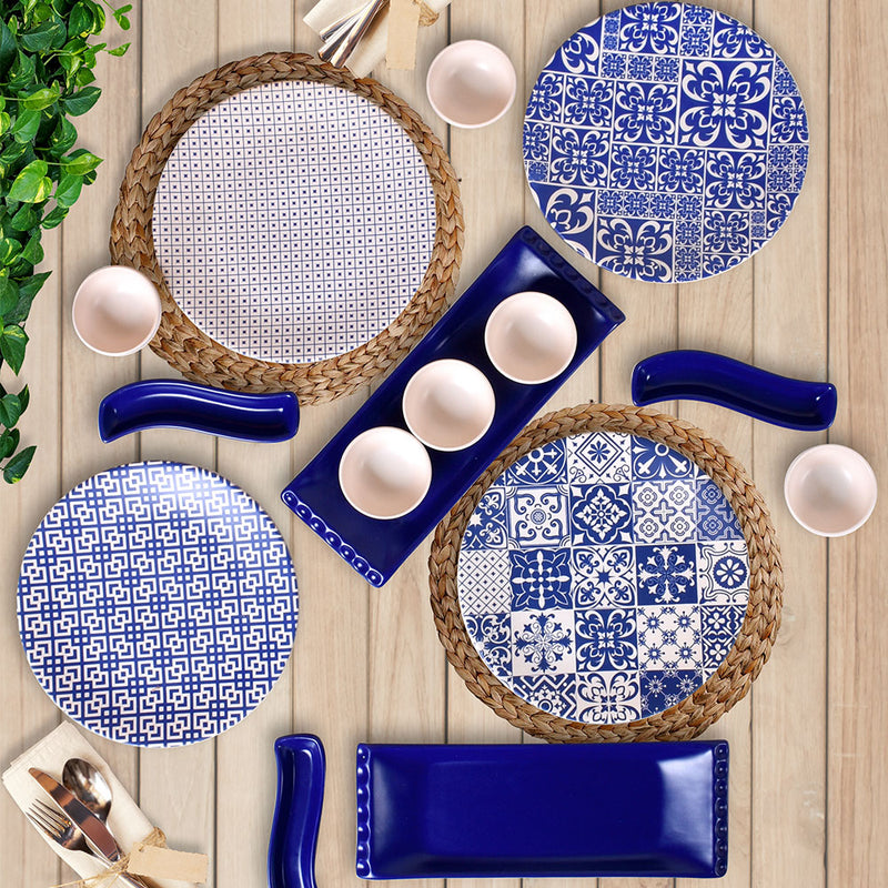 Breakfast Dishes Set 15 Pieces - Blue model