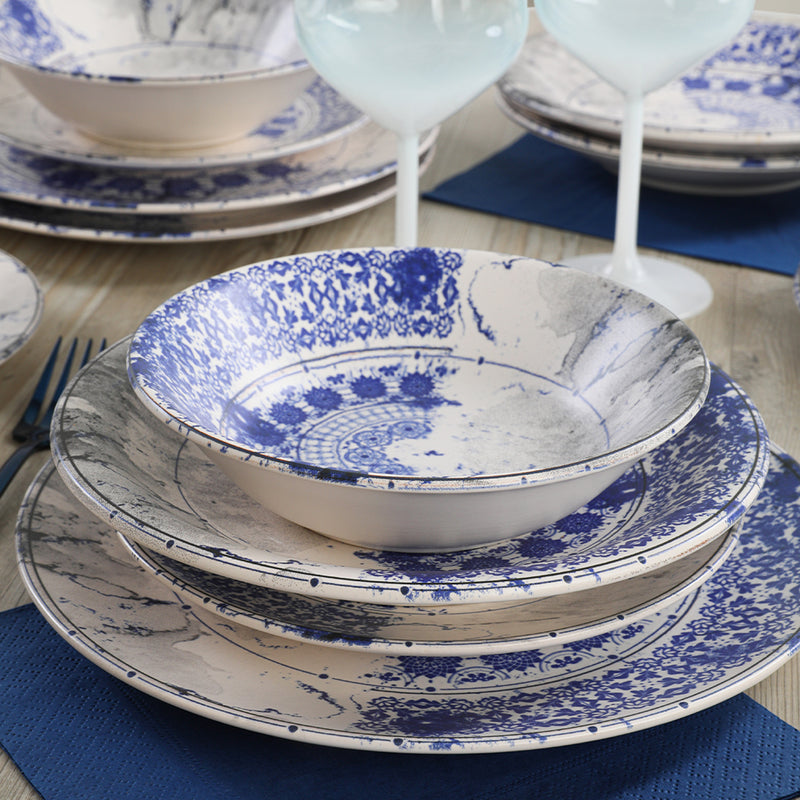 Food Dishes Set 16 Pieces - Blue Ruins model