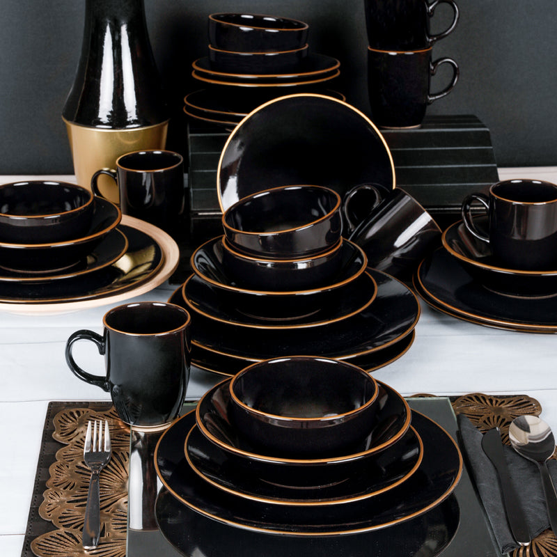 Food Dishes Set 30 Pieces - Ege Siyah Gold model