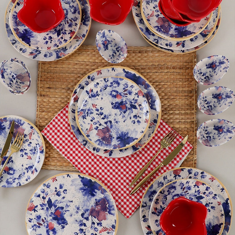 Breakfast Dishes Set 24 Pieces - Mimoza Red Organik model