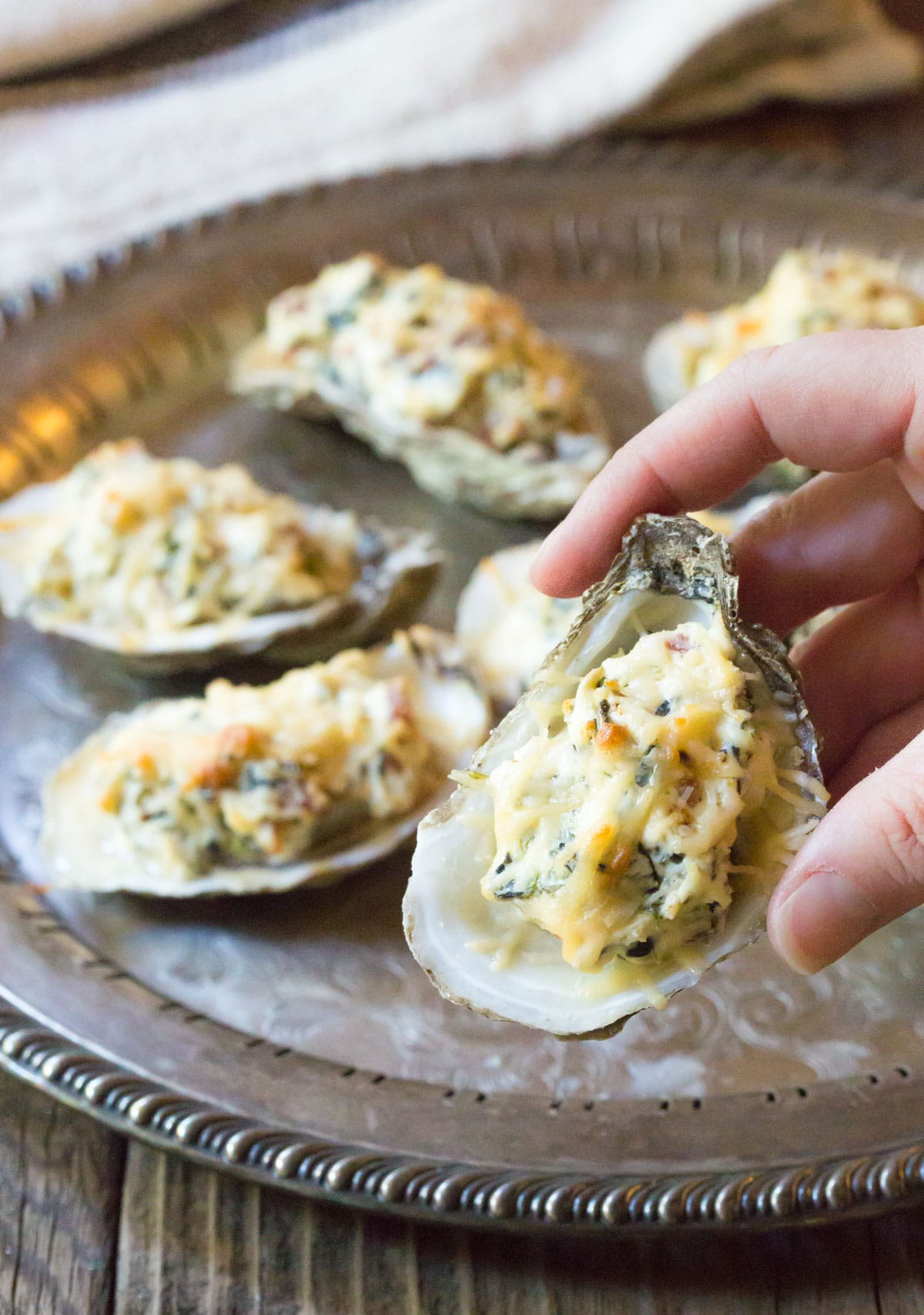Three-Cheese Baked Oysters