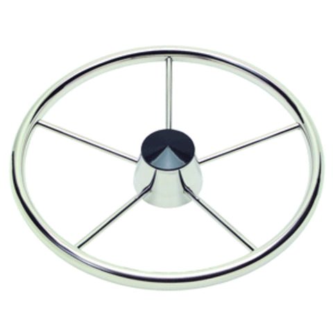 "Schmitt and amp; Ongaro 170 13.5"" Stainless 5-Spoke Destroyer Wheel w/ Black Cap and Standard Rim - Fits 3/4"" Tapered Shaft Helm"