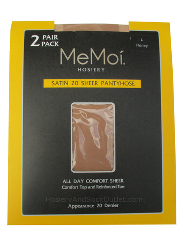 Memoi Satin 20 Sheer Pantyhose 2 Pack