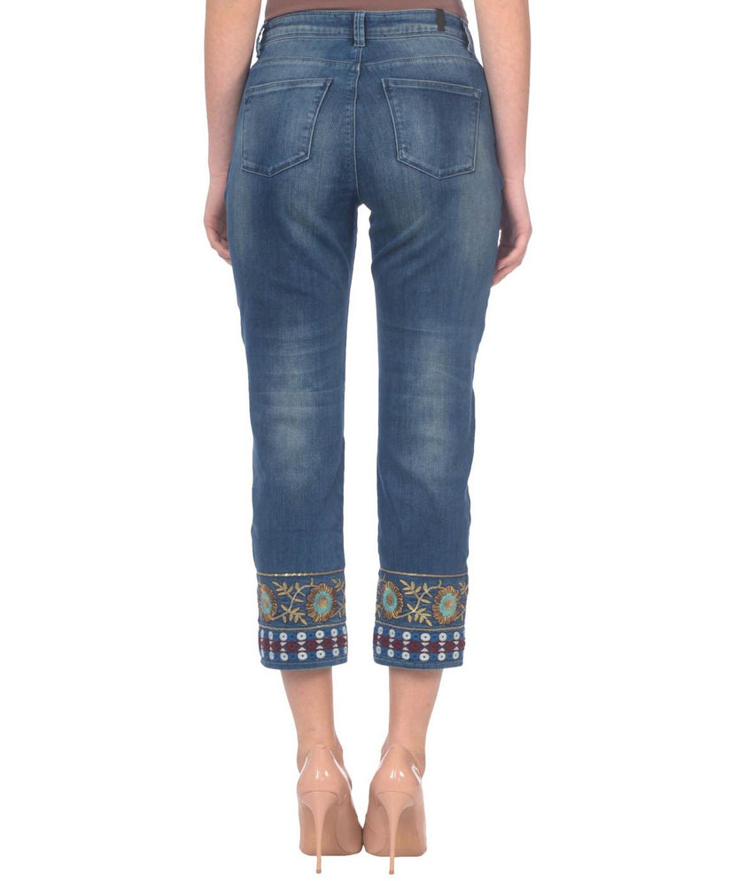 High rise straight cropped stretch jean
