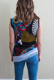 Leopards and Roses geo print sleeveless top