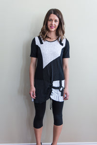 Black and white stretch tunic top