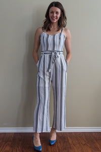 Striped Crepe Wide Leg Jumpsuit