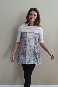 Leopards and Roses cowl neck tunic top