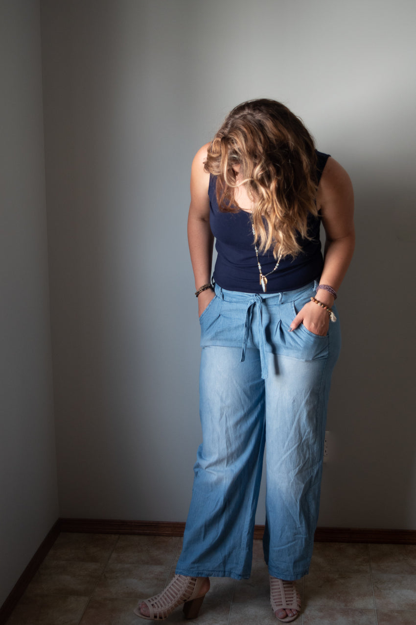 wide leg cotton pant