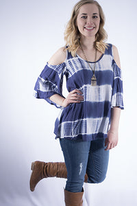 Tie Dye Bell Sleeve Cold Shoulder