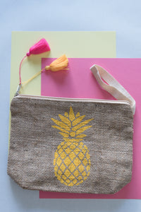 Pineapple design make up bag