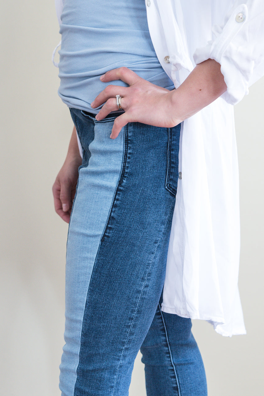 Rachel Two-Tone High Rise Pull On Jean