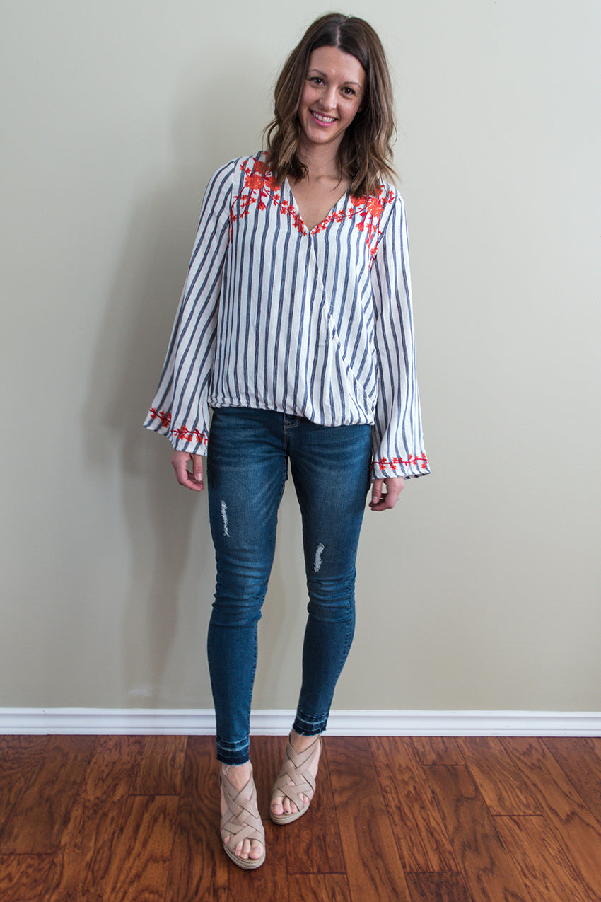 Embroidered Wrap Top