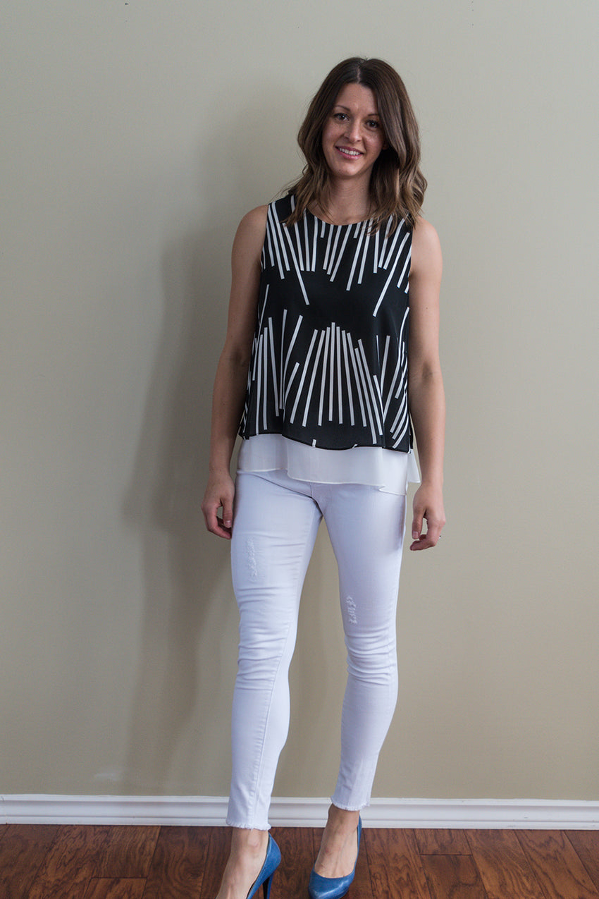 Line print sleeveless split back top