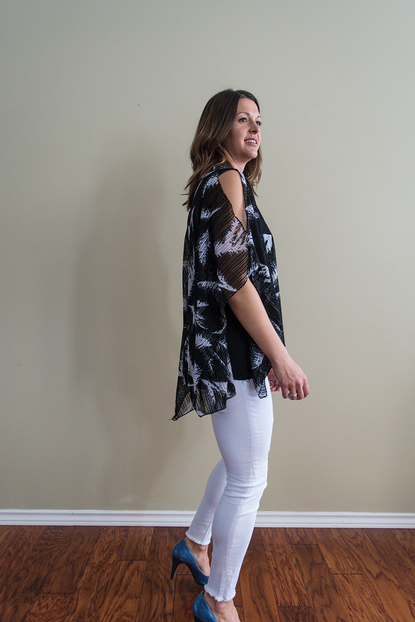 Feathered Cold Shoulder Top