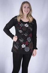 Leopards and Roses Flower Cut Rib Tunic