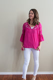 Fuschia bell sleeve top