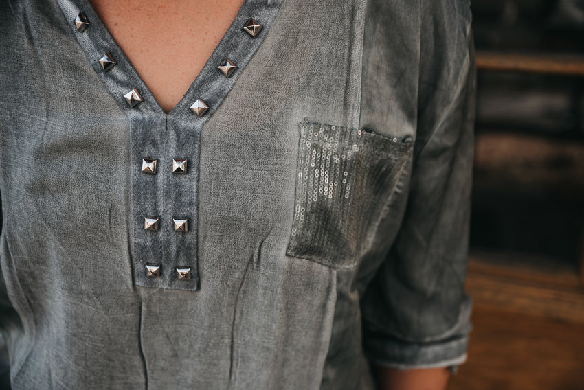 Studded Oversized Top